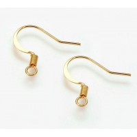 16mm Flat Hook Ear Wires, Gold Tone, Pack of 50
