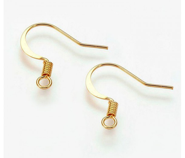 16mm Flat Hook Ear Wires, Gold Tone