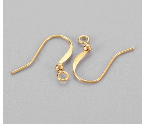 16mm Flat Hook Ear Wires with Ball, Gold Tone