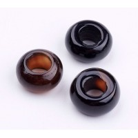 Black Agate Large Hole Beads, Natural, 14x8mm Rondelle, 6mm Hole