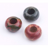 Red Creek Jasper Large Hole Beads, 14x8mm Rondelle, 6mm Hole
