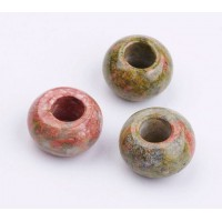 Unakite Large Hole Bead, Natural, 14x8mm Rondelle, 6mm Hole