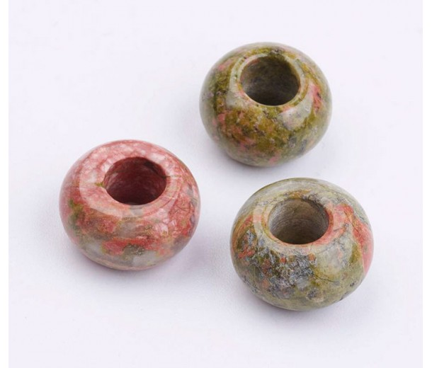 Unakite Large Hole Beads, Natural, 14x8mm Rondelle, 6mm Hole