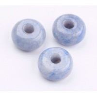 Blue Aventurine Large Hole Beads, Natural, 14x8mm Rondelle, 4mm Hole