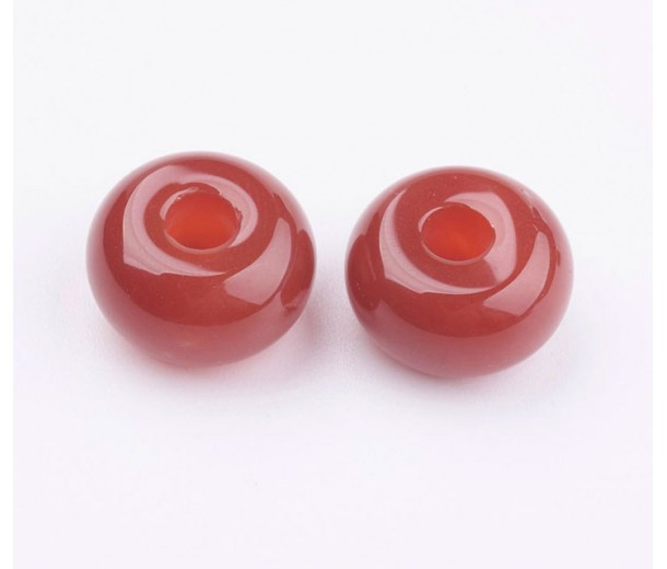 Carnelian Large Hole Beads, Natural, 14x8mm Rondelle, 4mm Hole