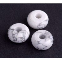 Howlite Large Hole Bead, Natural White, 14x8mm Rondelle, 4mm Hole