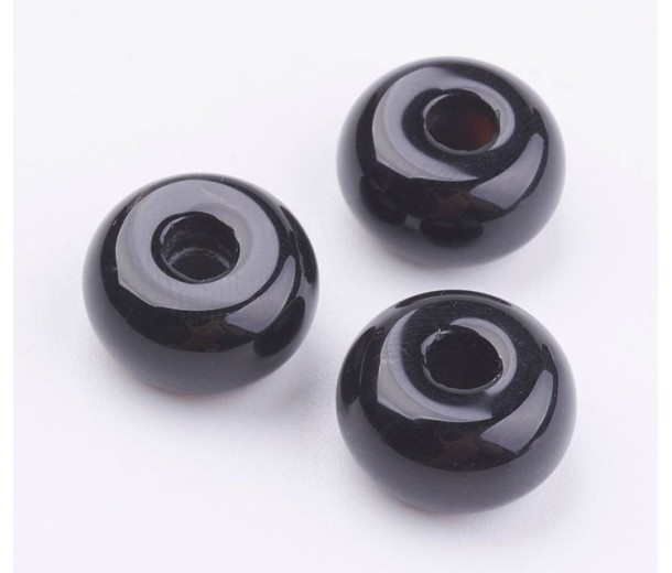 Black Agate Large Hole Beads, 14x8mm Rondelle, 4mm Hole