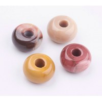 Mookaite Large Hole Bead, Natural, 14x8mm Rondelle, 4mm Hole