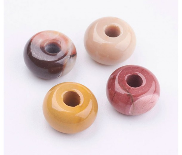 Mookaite Large Hole Beads, Natural, 14x8mm Rondelle, 4mm Hole