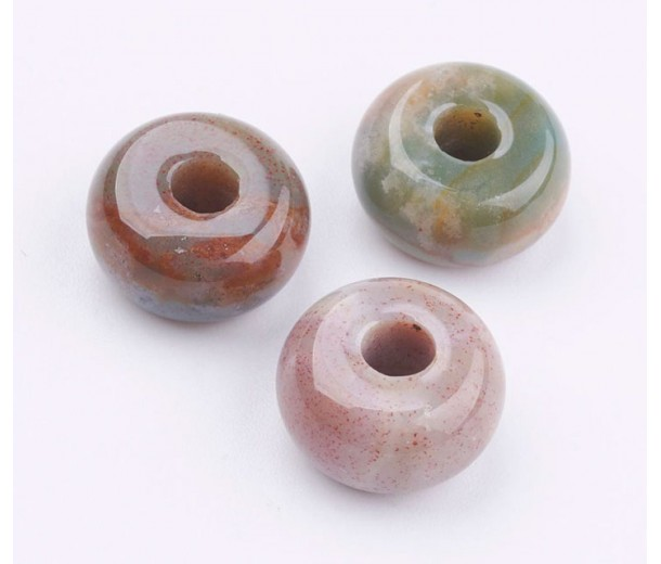 Indian Agate Large Hole Beads, Natural, 14x8mm Rondelle, 4mm Hole