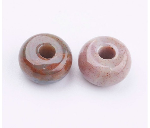 Indian Agate Large Hole Beads, 14x8mm Rondelle, 4mm Hole