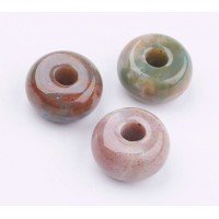 Indian Agate Large Hole Bead, Natural, 14x8mm Rondelle, 4mm Hole
