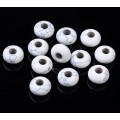 Howlite Large Hole Beads, White, 14x8mm Rondelle, 5mm Hole