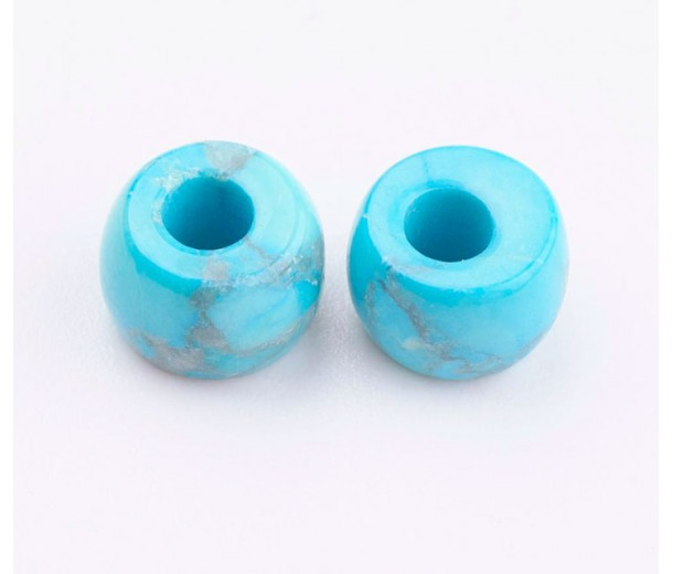 Imitation Turquoise Large Hole Beads, 8x5mm Rondelle, 3mm Hole, Pack of 5