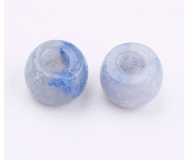 Blue Aventurine Large Hole Beads, Natural, 8x5mm Rondelle, 3mm Hole