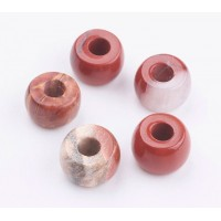 Red Jasper Large Hole Beads, 8x5mm Rondelle, 3mm Hole, Pack of 5