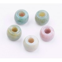 Indian Agate Large Hole Beads, 8x5mm Rondelle, 3mm Hole, Pack of 5
