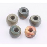 Picasso Jasper Large Hole Beads, 8x5mm Rondelle, 3mm Hole, Pack of 5