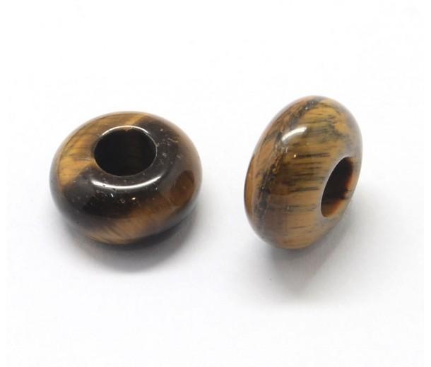 Tiger Eye Large Hole Beads, 14x7mm Rondelle, 5mm Hole