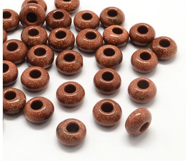 Goldstone Large Hole Beads, Brown, 14x7mm Rondelle, 5mm Hole
