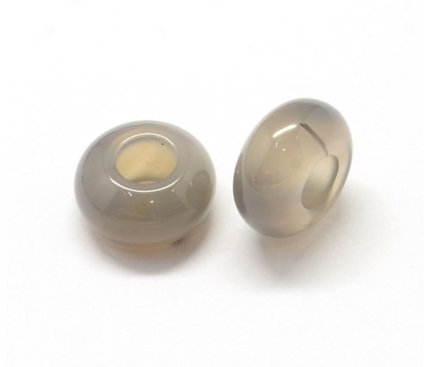 Grey Agate Large Hole Bead, 14x7mm Rondelle, 5mm Hole