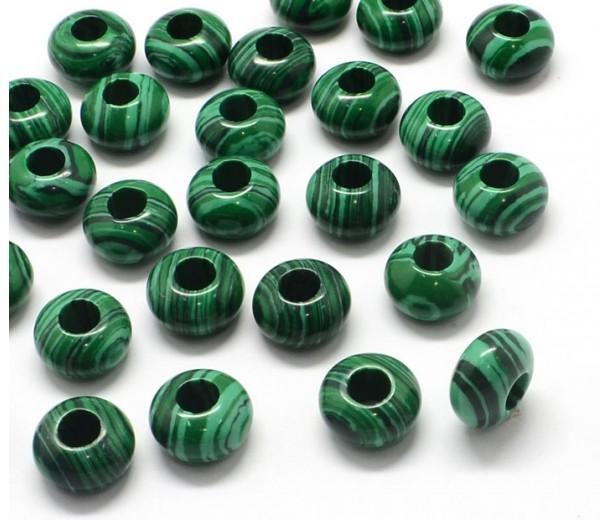 Imitation Malachite Large Hole Beads, 14x7mm Rondelle, 5mm Hole