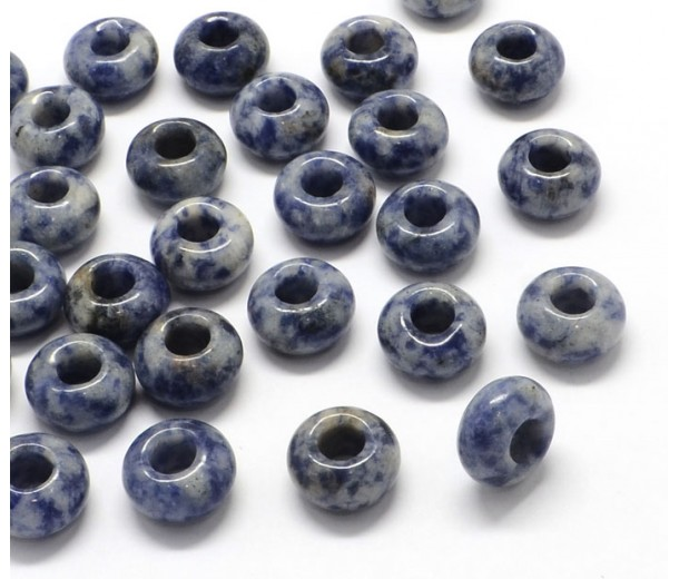 Sodalite Large Hole Bead, Light Blue, 14x7mm Rondelle, 5mm Hole