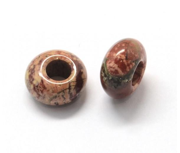 Rainbow Jasper Large Hole Beads, 14x7mm Rondelle, 5mm Hole