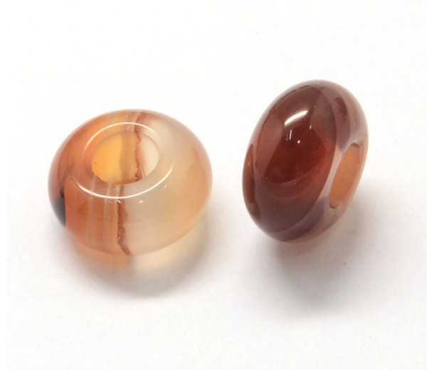 Red Agate Large Hole Beads, 14x7mm Rondelle, 5mm Hole