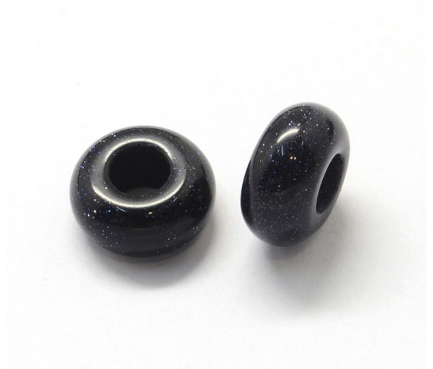 Goldstone Large Hole Beads, Dark Blue, 14x7mm Rondelle, 5mm Hole