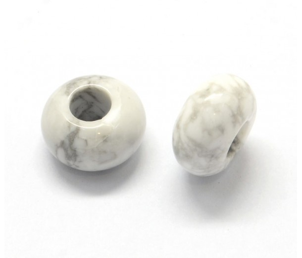 Howlite Large Hole Bead, White, 14x7mm Rondelle, 5mm Hole
