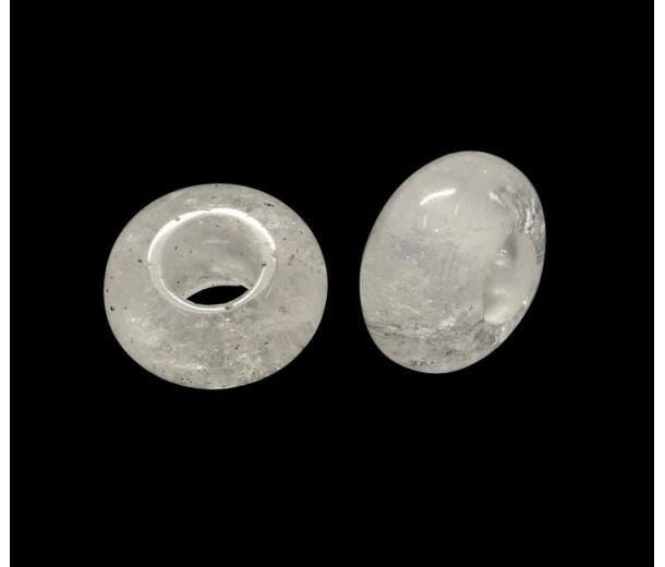 Quartz Crystal Large Hole Beads, 14x7mm Rondelle, 5mm Hole