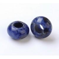 Sodalite Large Hole Beads, Blue, 12x8mm Rondelle, 5mm Hole