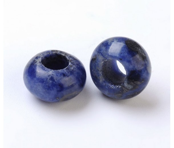 Sodalite Large Hole Bead, Blue, 12x8mm Rondelle, 5mm Hole