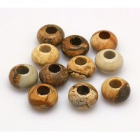 Picture Jasper Large Hole Bead, 12x8mm Rondelle, 5mm Hole
