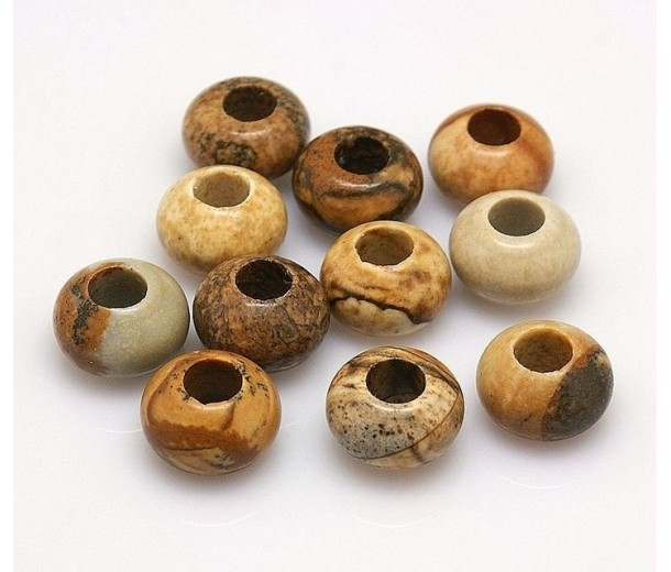 Picture Jasper Large Hole Beads, 12x8mm Rondelle, 5mm Hole