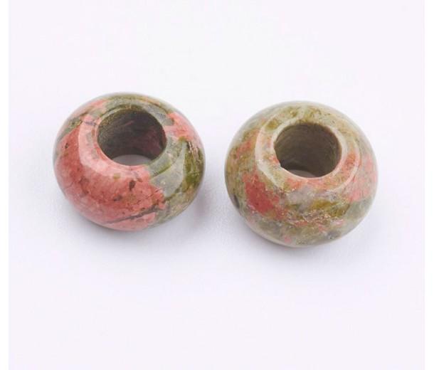 Unakite Large Hole Beads, 12x7mm Rondelle, 5mm Hole