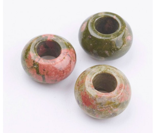 Unakite Large Hole Beads, Natural, 12x7mm Rondelle, 5mm Hole