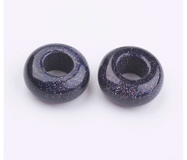 Goldstone Large Hole Beads, Dark Blue, 12x7mm Rondelle, 5mm Hole
