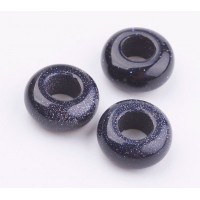 Goldstone Large Hole Beads, Dark Blue, 12x7mm Rondelle, 5mm Hole
