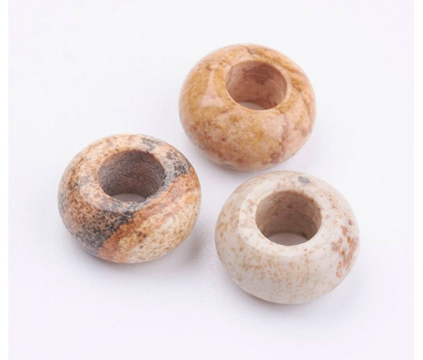 Picture Jasper Large Hole Beads, 12x7mm Rondelle, 5mm Hole