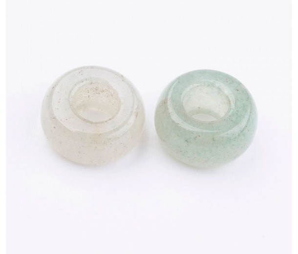 Green Aventurine Large Hole Beads, 13x7mm Rondelle, 5mm Hole