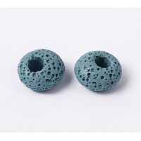 Lava Large Hole Smooth Bead, Blue, 16x10mm Rondelle, 4mm Hole
