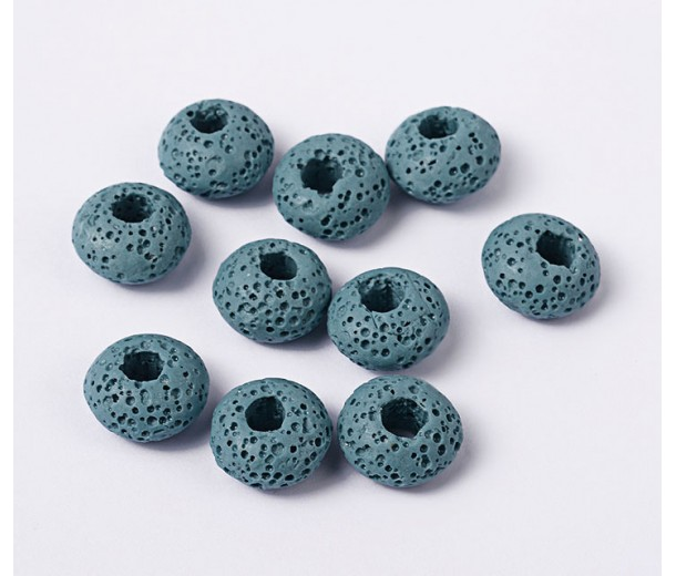Lava Large Hole Smooth Beads, Blue, 16x10mm Rondelle, 4mm Hole