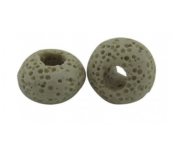 Lava Large Hole Smooth Bead, Beige, 16x10mm Rondelle, 4mm Hole