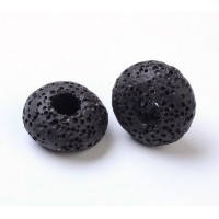 Lava Large Hole Smooth Bead, Black, 16x10mm Rondelle, 4mm Hole
