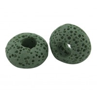 Lava Large Hole Smooth Bead, Light Green, 16x10mm Rondelle, 4mm Hole