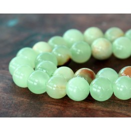 Flower Jade Beads, Celadon Green, 10mm Round