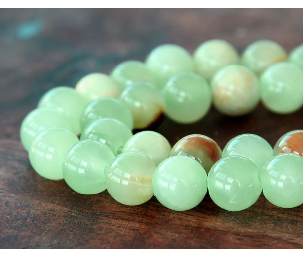 Flower Jade Beads, Celadon Green, 10mm Round