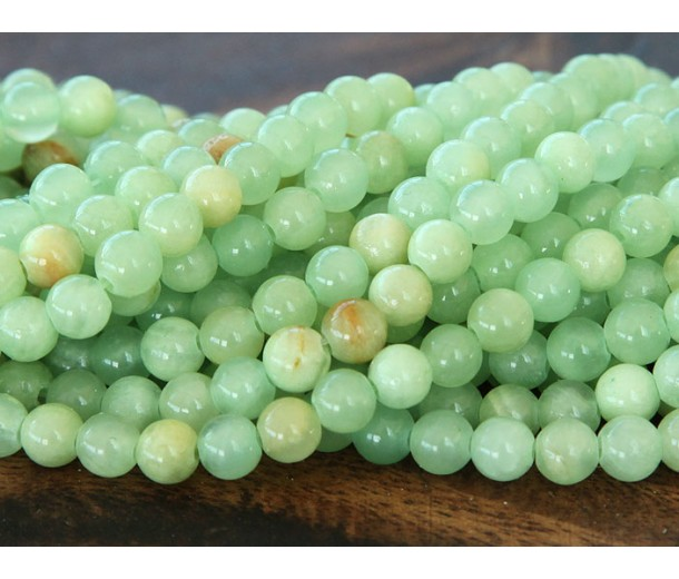 Flower Jade Beads, Celadon Green, 4mm Round
